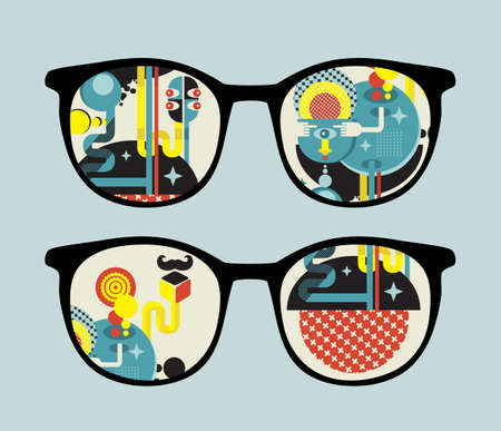Retro sunglasses with alien reflection in it  Vector