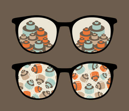 Retro sunglasses with details reflection in it   Vector