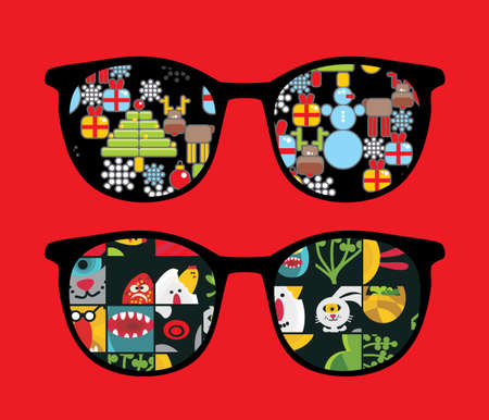 the stranger: Retro sunglasses with holiday reflection in it   Illustration