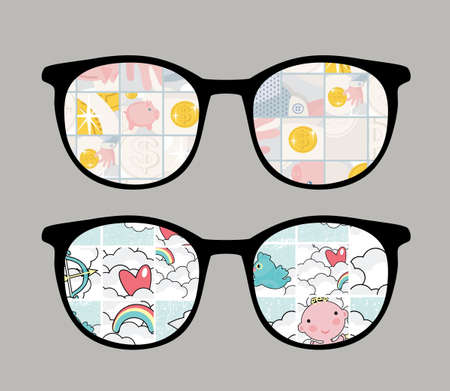 animalitos tiernos: Gafas retro con la reflexión sensibles en lo Vectores