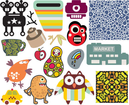 Mix of different images and icons  vol 61 Stock Vector - 16249877
