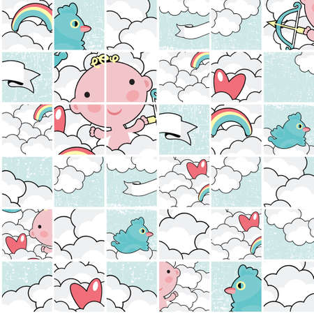 Cute cupid puzzle pattern   Vector