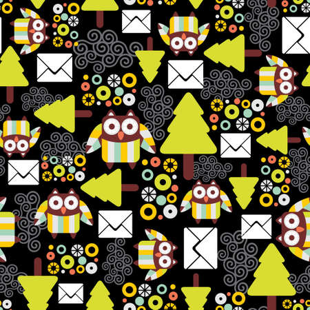Seamless pattern with owls Stock Vector - 16249866