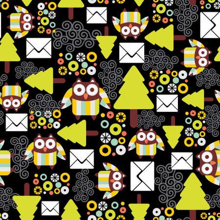 cartoon bouquet: Seamless pattern with owls