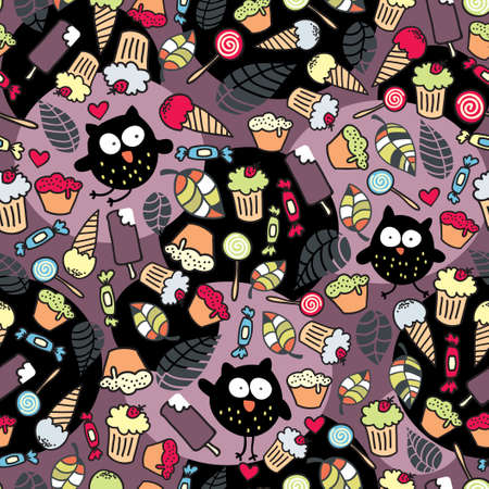 Crazy owls and some tasty things   Vector