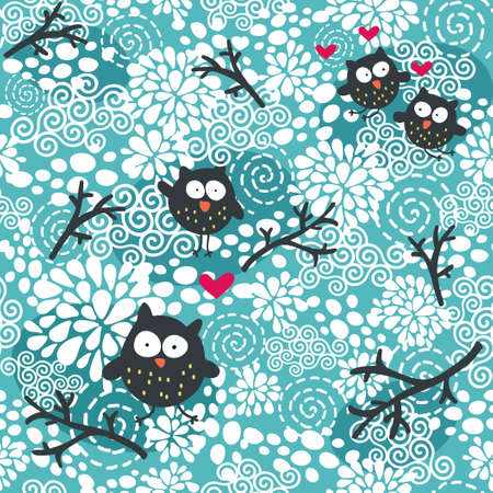 Winter seamless pattern with owls and snow