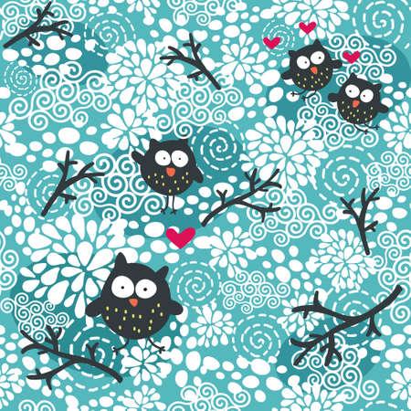 Winter naadloze patroon met uilen en sneeuw