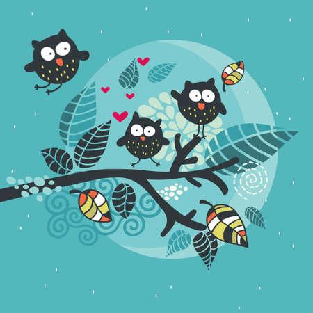 Three crazy owls on the brunch   Illustration