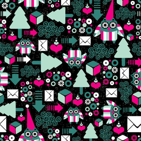 Seamless pattern with winter owl   Vector