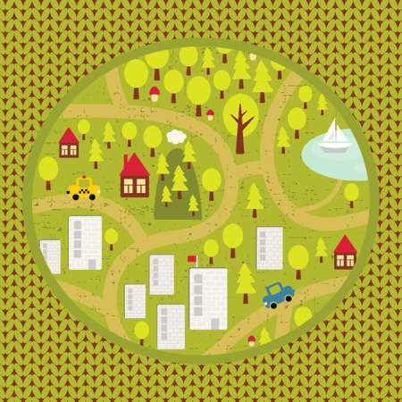 Cartoon map of small town and countryside   Stock Vector - 16380861