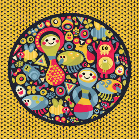 matrioshka: Cute monsters pattern