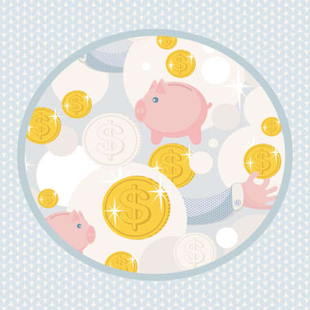 Pattern with saving pigs and money   Vector