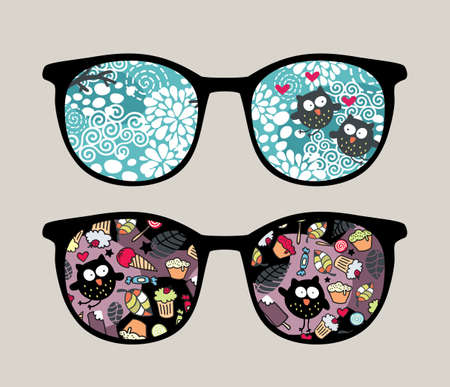 Retro sunglasses with crazy owls reflection in it   Vector