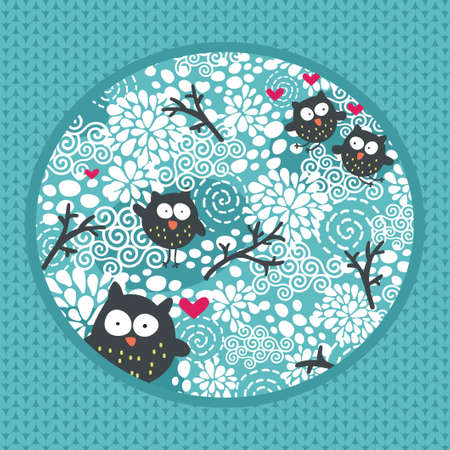 Winter pattern with owls and snow
