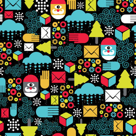 Seamless pattern with abstract Santa   Vector
