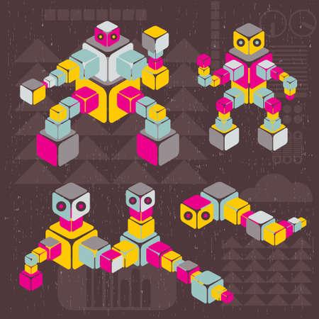 animated alien: Retro style cube robots