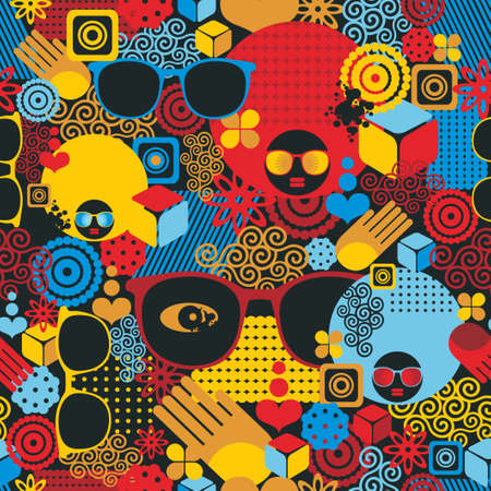 Abstract seamless pattern with black woman  Vector