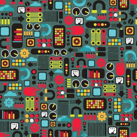 Máquinas de dibujos animados de fondo sin fisuras Ilustración de vector