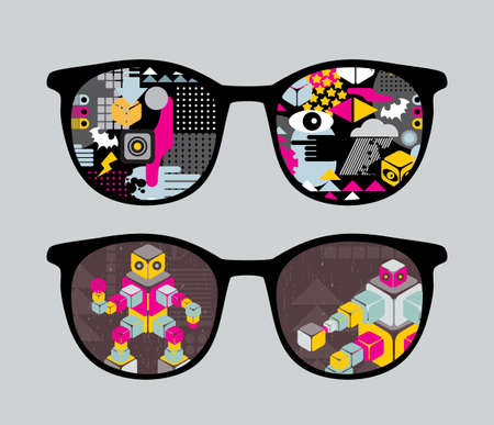 sunglasses reflection: Retro sunglasses with robots reflection in it   Illustration