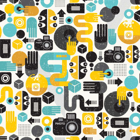 Photo man seamless background  Abstract vector pattern with photographer monster