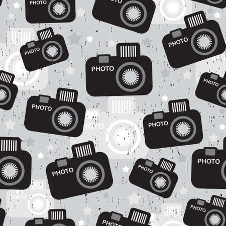 photo shooting: Camera seamless pattern  Vector texture in retro style