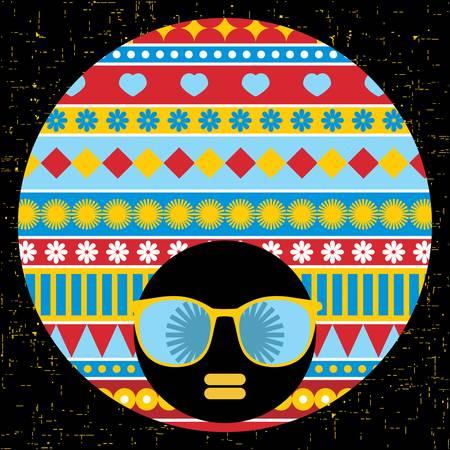 Black head woman with strange pattern hair  Vector illustration Stock Vector - 17000158