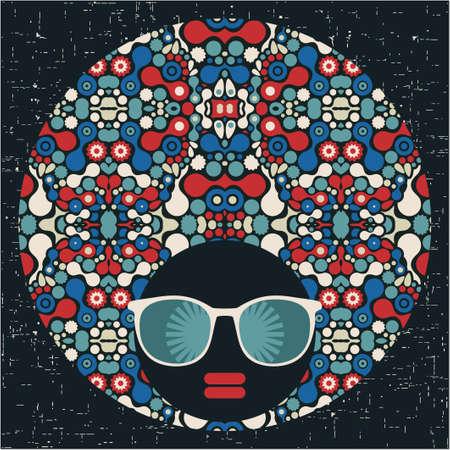 Black head woman with strange pattern hair  Vector illustration Stock Vector - 17000176