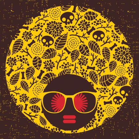 Black head woman with strange pattern hair  Vector illustration Stock Vector - 17000193