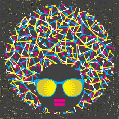 crazy hair: Black head woman with strange pattern hair  Vector illustration   Illustration