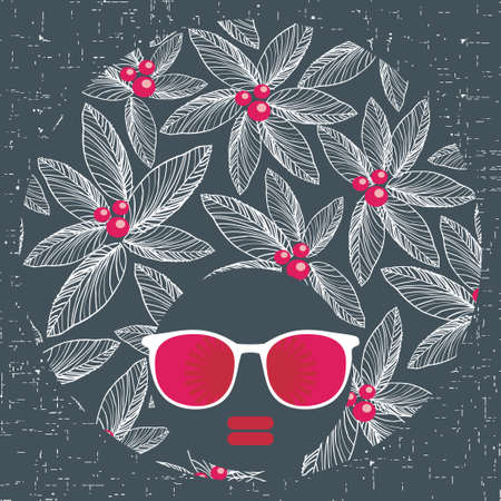 Black head woman with strange pattern hair  Vector illustration Stock Vector - 17000200