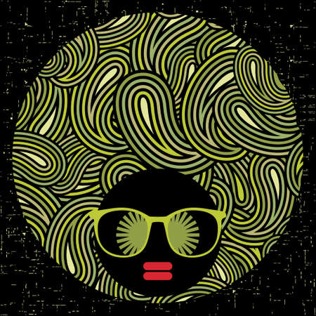 Black head woman with strange pattern hair  Vector illustration Stock Vector - 17000241