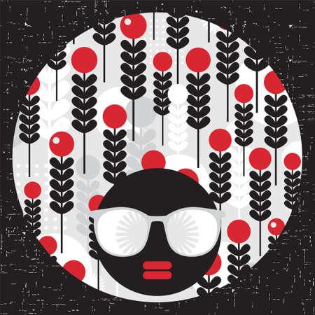 Black head woman with strange pattern hair  Vector illustration Stock Vector - 17000198