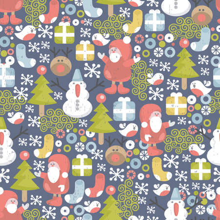 Funny Christmas pattern   Vector