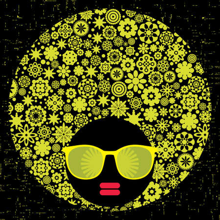Black head woman with strange pattern hair   Stock Vector - 17000250