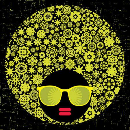 Black head woman with strange pattern hair Stock Vector - 17000250