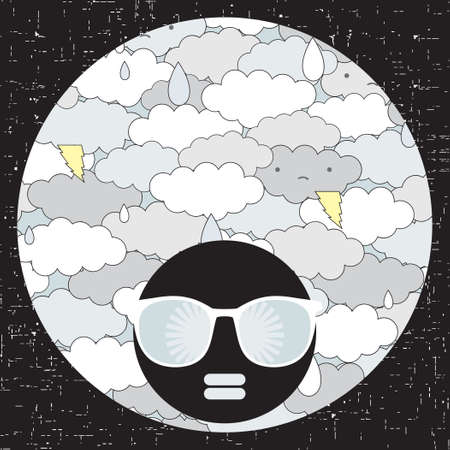 niños tristes: Mujer cabeza de negro con cabello de patrón extraño. Vector ilustración.