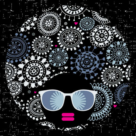 Black head woman with strange pattern hair.  Vector