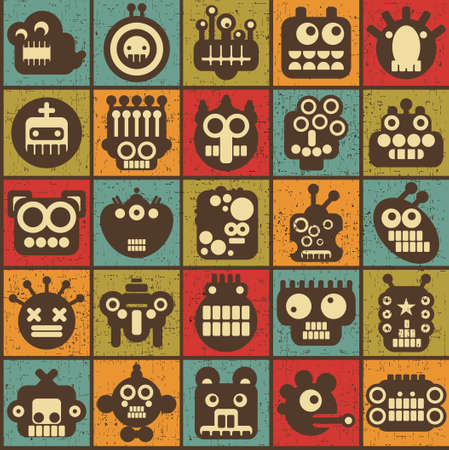 Robot and monsters cell seamless background in retro style  3   イラスト・ベクター素材