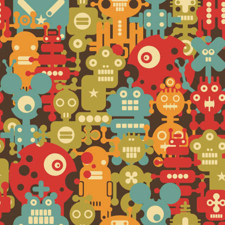 Robot and monsters modern seamless pattern in retro style. Vector