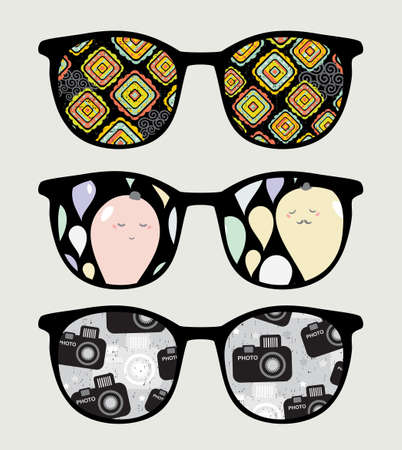 sunglasses reflection: Retro sunglasses with nice reflection in it   Illustration