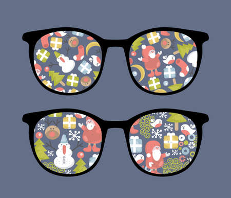 Retro sunglasses with christmas time reflection in it   Vector