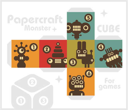 Paper cube with monsters for table games Stock Vector - 17156218