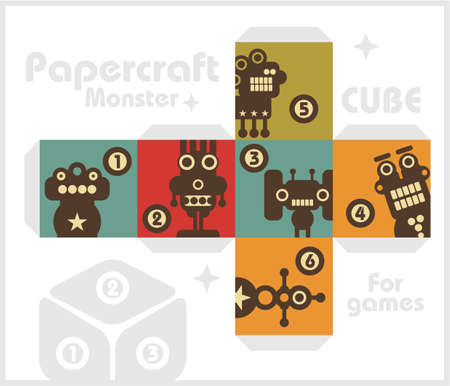 Paper cube with monsters for table games Stock Vector - 17156215