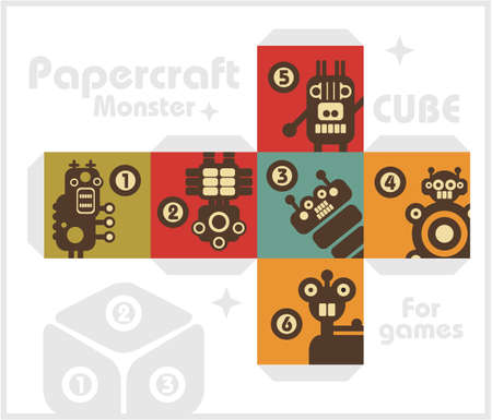 Paper cube with monsters for table games  Vector