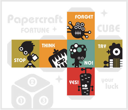 throwing paper: Paper cube with monsters for luck   Illustration
