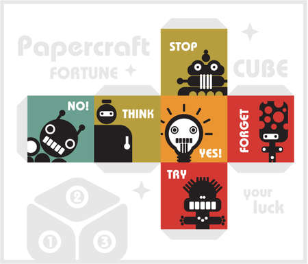 council: Paper cube with monsters for luck   Illustration