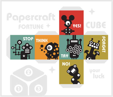 Paper cube with monsters for luck Stock Vector - 17234270