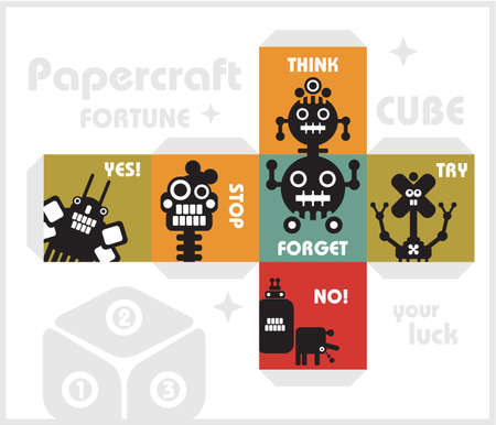 council: Paper cube with monsters for luck