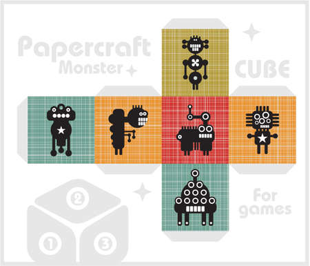 Paper cube, toy for children games and decoration   Vector