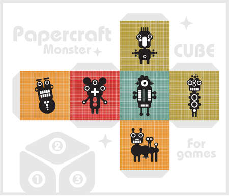 Paper cube for children games and decoration.  Illustration